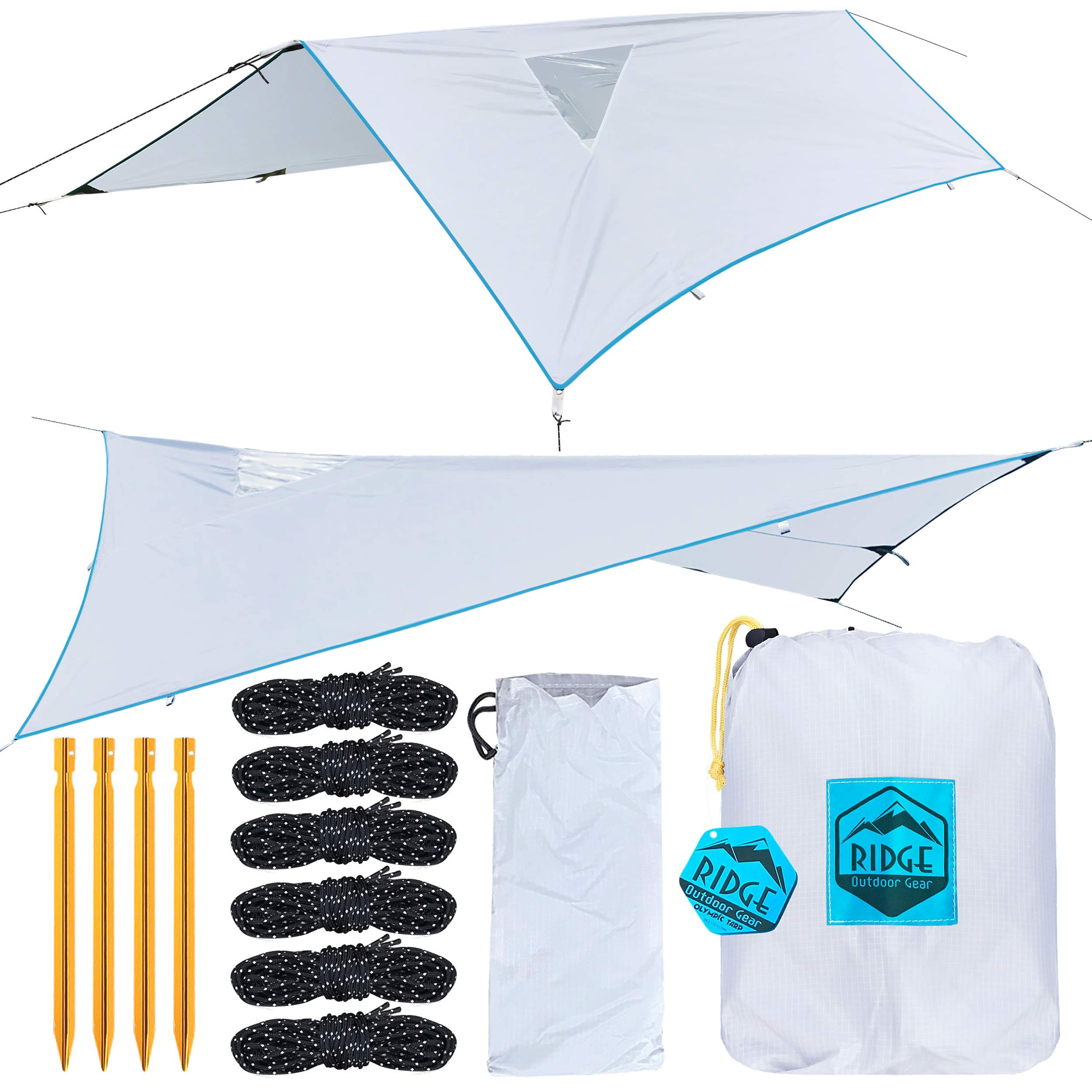 Ridge Outdoor Gear Rainfly Tent Tarp for Camping Hammock, Ripstop Polyester, 11 x 7.83 ft, Window Sky-View, Storm Shelter by Ridge Outdoor Gear