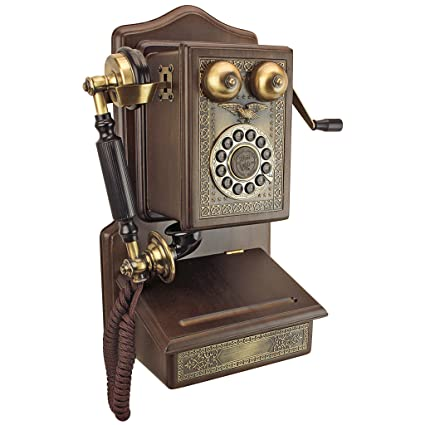 Design Toscano Antique Phone Country Kitchen Decor 1907 Rotary Wall  Telephone Corded Retro Vintage,