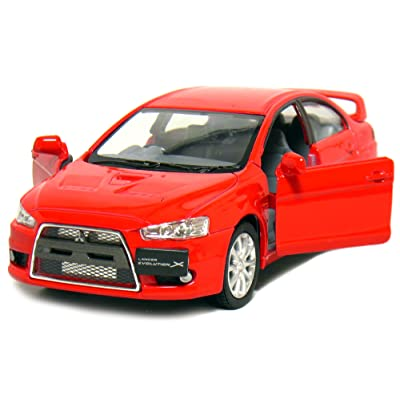 "KiNSMART 5"" 2008 Mitsubishi Lancer Evolution X 1:36 Scale (Red): Toys & Games"