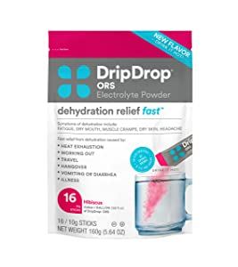 DripDrop ORS Hot - Patented Electrolyte Powder For Dehydration Relief Fast - For Immunity, Illness, Cold & Flu - Hibiscus - 16 x 8oz Servings