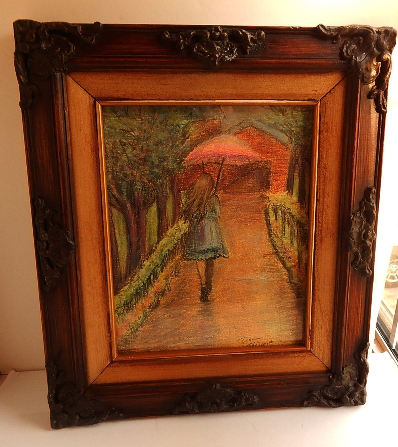 Girl with Umbrella Pastel Drawing Framed Original