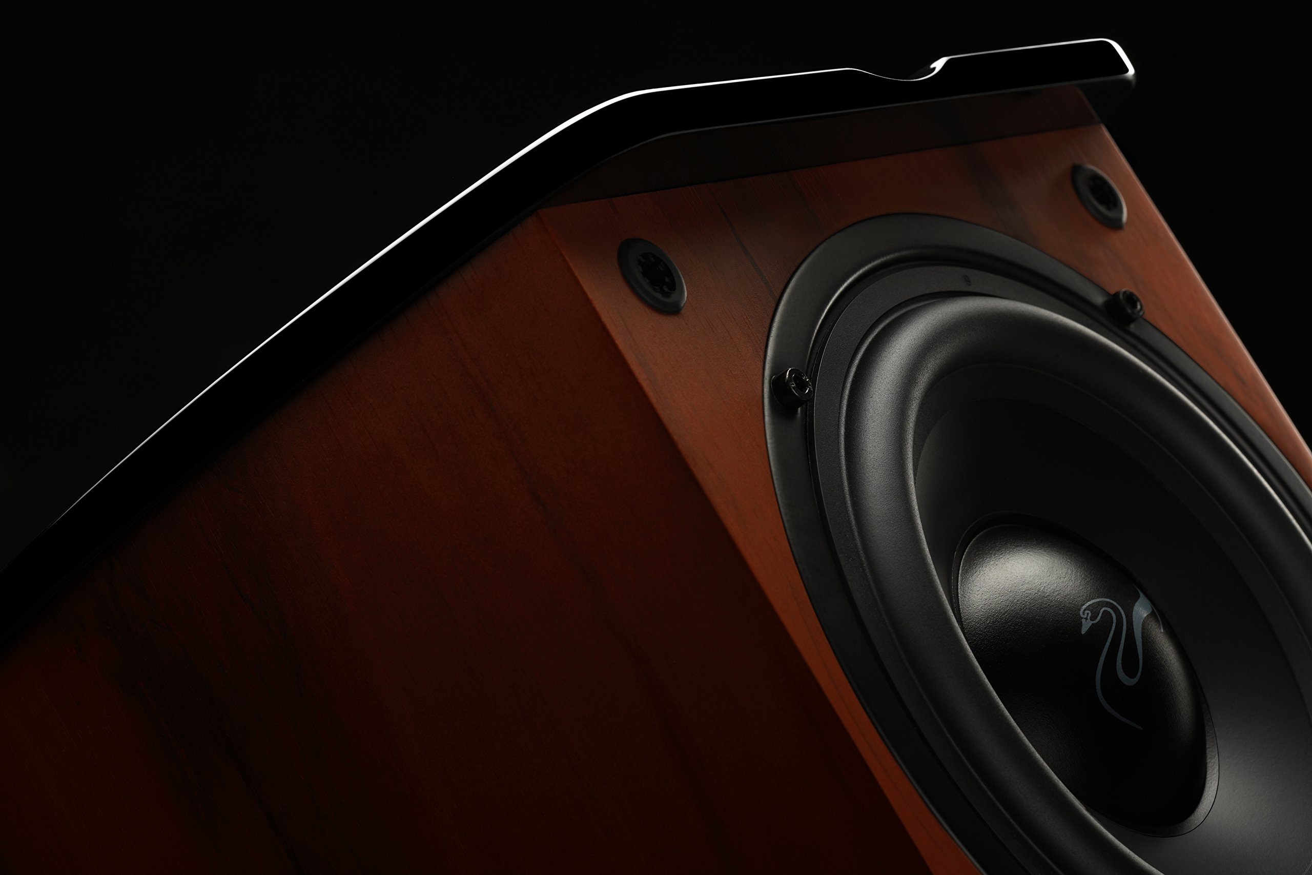 Swan Speakers - M20W - Beautiful Powered 2.1 Living Room Laptop Speakers -  6'' Subwoofer - Rosewood with Pink Gold Aluminium Drivers and Piano Finish - 50W RMS Internal Amplifier by Swan Speakers (Image #3)