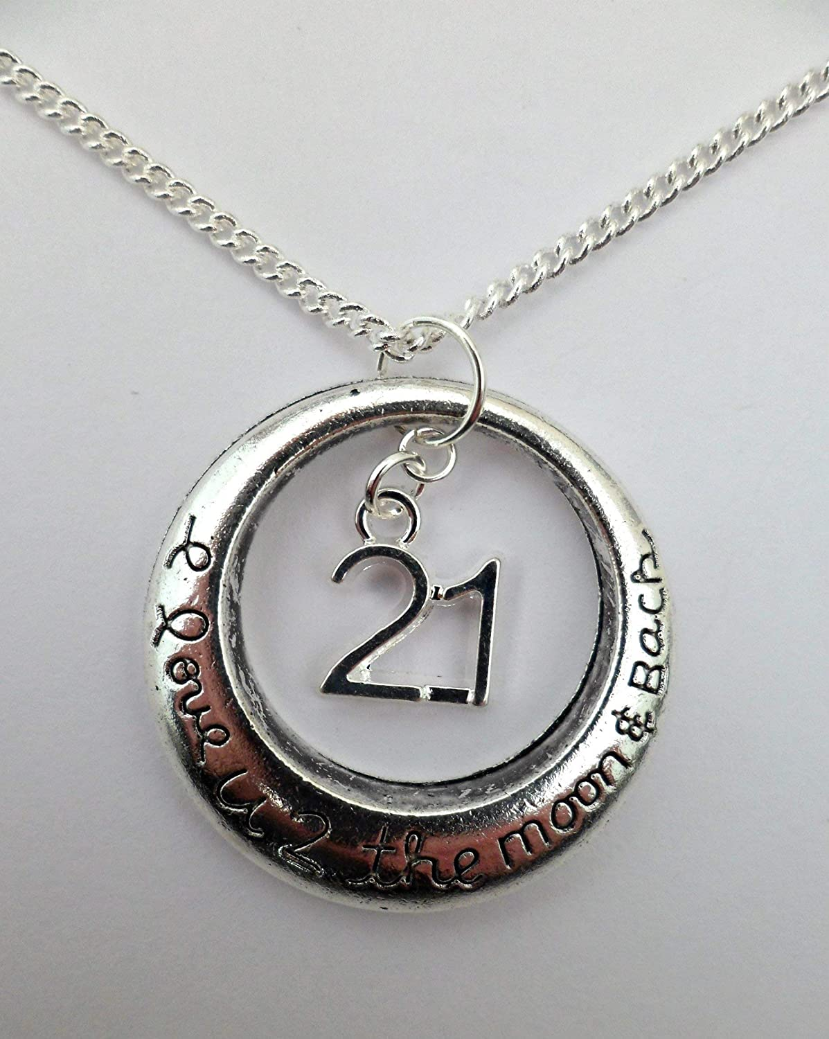 Silver Necklace To The Moon And Back Number 21 Charm Pendant Birthday Anniversary