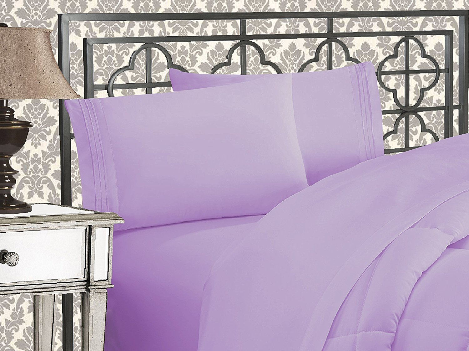 Elegant Comfort 1500 Thread Count Wrinkle Resistant Egyptian Quality Ultra Soft Luxurious 4-Piece Bed Sheet Set, Full, Lilac