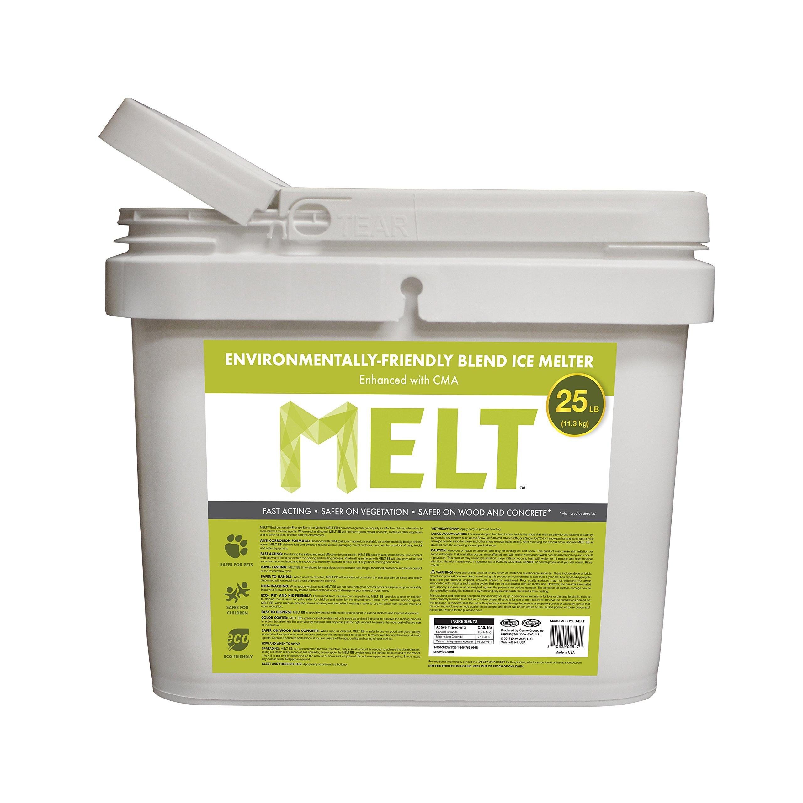 Snow Joe MELT25EB-BKT 25-lb Flip-Top Bucket W/Scoop Melt Premium Environmentally + Pet Friendly Blend Ice Melt by Snow Joe
