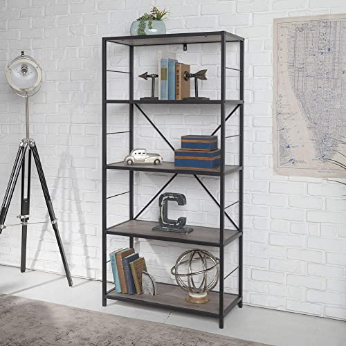 WE Furniture 4 Shelf Rustic Wood Metal Bookcase Bookshelf Storage, 60 Inch, Grey
