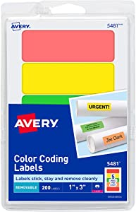 Avery Removable Print or Write Color Coding Labels, 1 x 3 Inches, 200 Labels (5481), Assorted Color (Neon Green/Neon Orange/Neon Red/Neon Yellow)