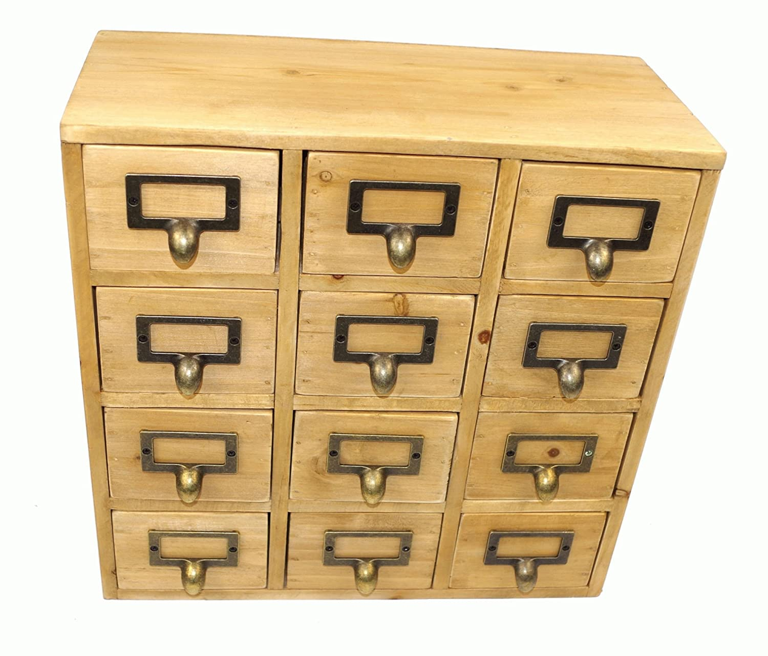 Geko 35 X 15 X 34 Cm Mini Trinket Desk Organiser Trinket Storage Drawers,  Wooden 12 Drawer Mini Chest With Metal Handles: Amazon.co.uk: Kitchen U0026 Home