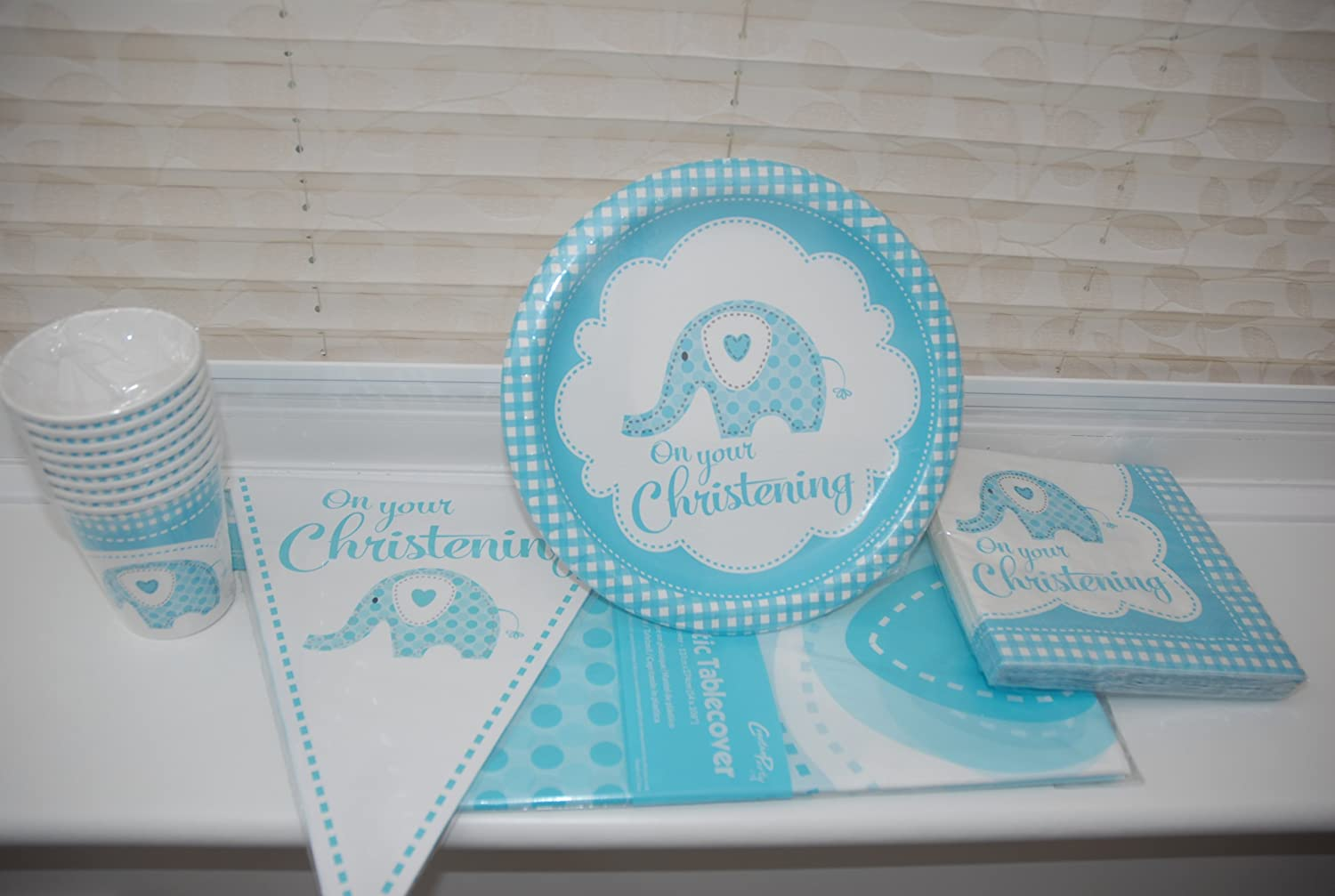 Amazon.com  Baby Boy Blue Elephant On Your Christening Party Pack  - Paper Bunting Banner Printed Table Cover Disposable Paper Plates Napkins and ... & Amazon.com : Baby Boy Blue Elephant On Your Christening Party Pack ...