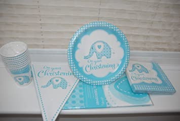 Baby Boy Blue Elephant On Your Christening Party Pack  - Paper Bunting Banner Printed : elephant paper plates and napkins - pezcame.com