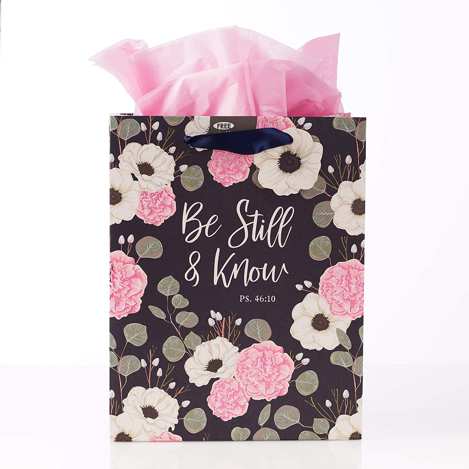 Christian Art Gifts White/Pink Flowers Gift Bag Set | Be Still and Know Navy Floral Psalm 46:10 Bible Verse | Medium Gift Bag with Tissue Paper for Women