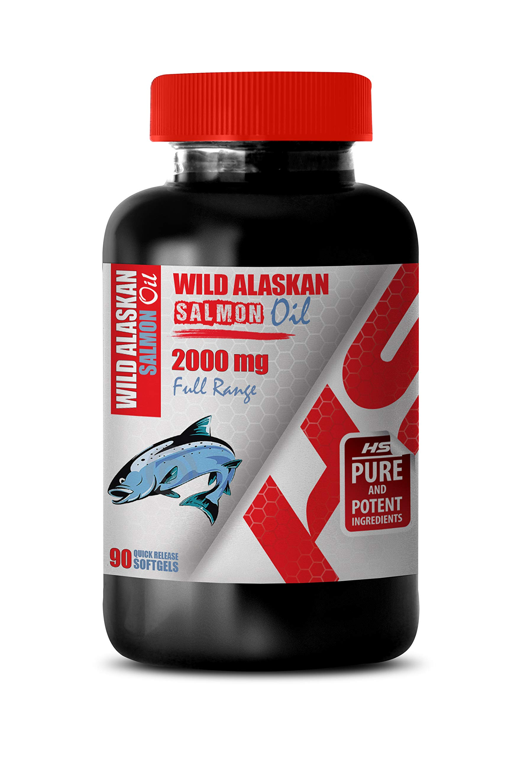 Brain Health Memory and Focus - Wild Alaskan Salmon Oil 2000 Mg Full Range - Wild Alaskan Salmon Oil for People - 1 Bottle 90 Softgels by Healthy Supplements LLC