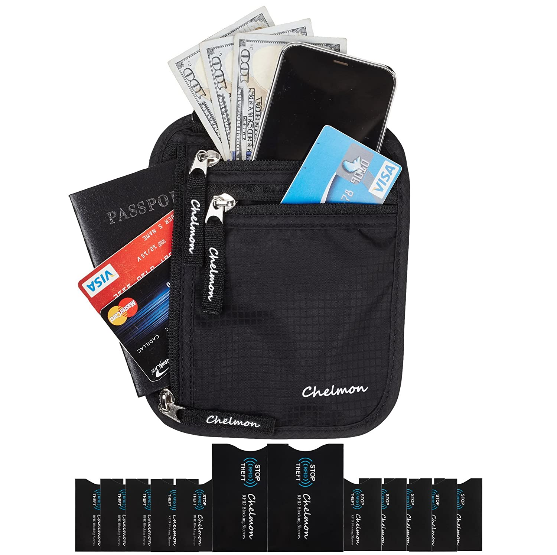 Chelmon Neck Wallet w/RFID Blocking- Concealed Travel Pouch & Passport Holder (black)