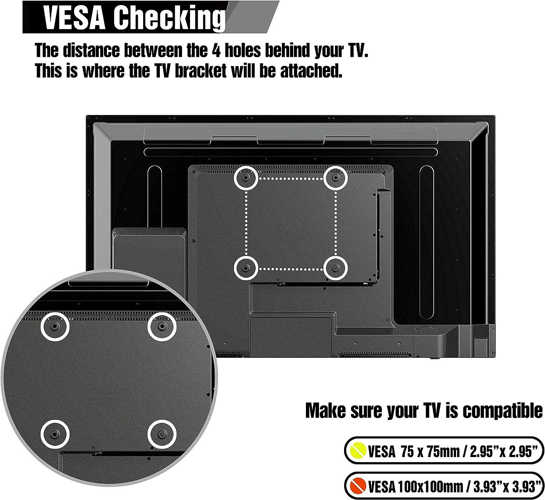 MAX VESA 100x100mm Schwarz Paladinz PLDTVM001SUKF TV Wandhalterung f/ür Monitore und Fernseher for 19-32 zoll Drehbar und Neigbar