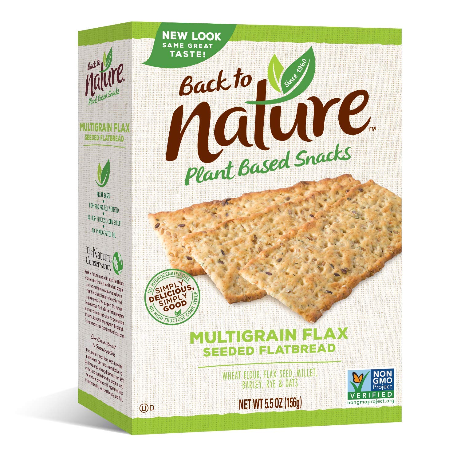 Back to Nature Non-GMO Crackers, Multigrain Flax Seeded Flatbread, 5.5 Ounce