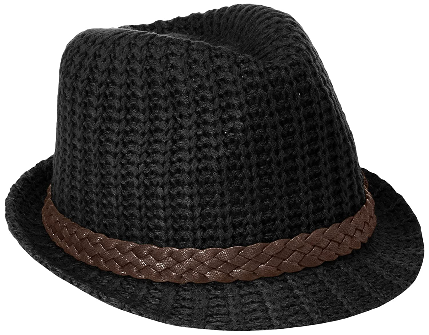 Scala Women s Cable Knit Fedora Hat with Braided Wax Cotton Band and Cross  Piece 8d38c85a0a8