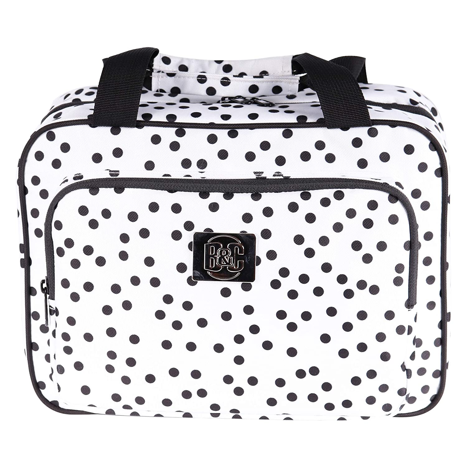 Large Polka Dot Travel Cosmetic Bag – Large Hanging Travel Toiletry And Cosmetic Organizer With Many Pockets white polka dot