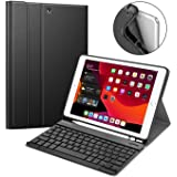 """ABOUTTHEFIT Keyboard Case iPad 7th Gen 10.2 Inch 2019, Soft TPU Back Protective Stand Cover with Built-in Pencil Holder, Magnetically Detachable Wireless Bluetooth Keyboard for iPad 10.2"""", Black"""