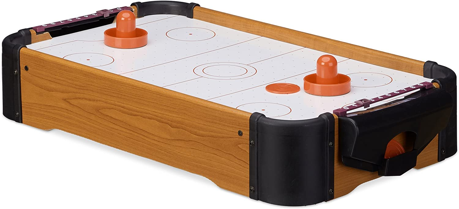 Relaxdays- Air Hockey Mesa Portátil, Color marrón, 10 x 31 x 56 cm ...