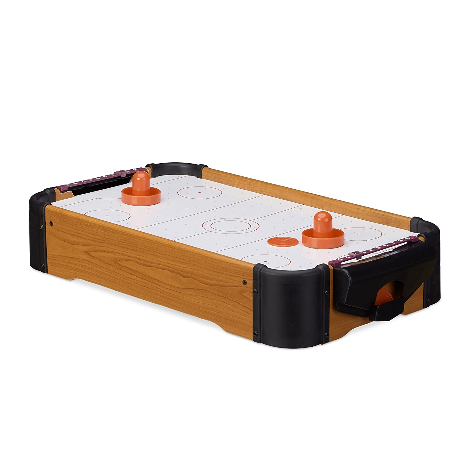 Relaxdays Air Hockey Tabletop Game, With Blower, Pucks and Pushers, Portable, Accessories, HxWxD: 10 x 31 x 56 cm, Brown 10022514