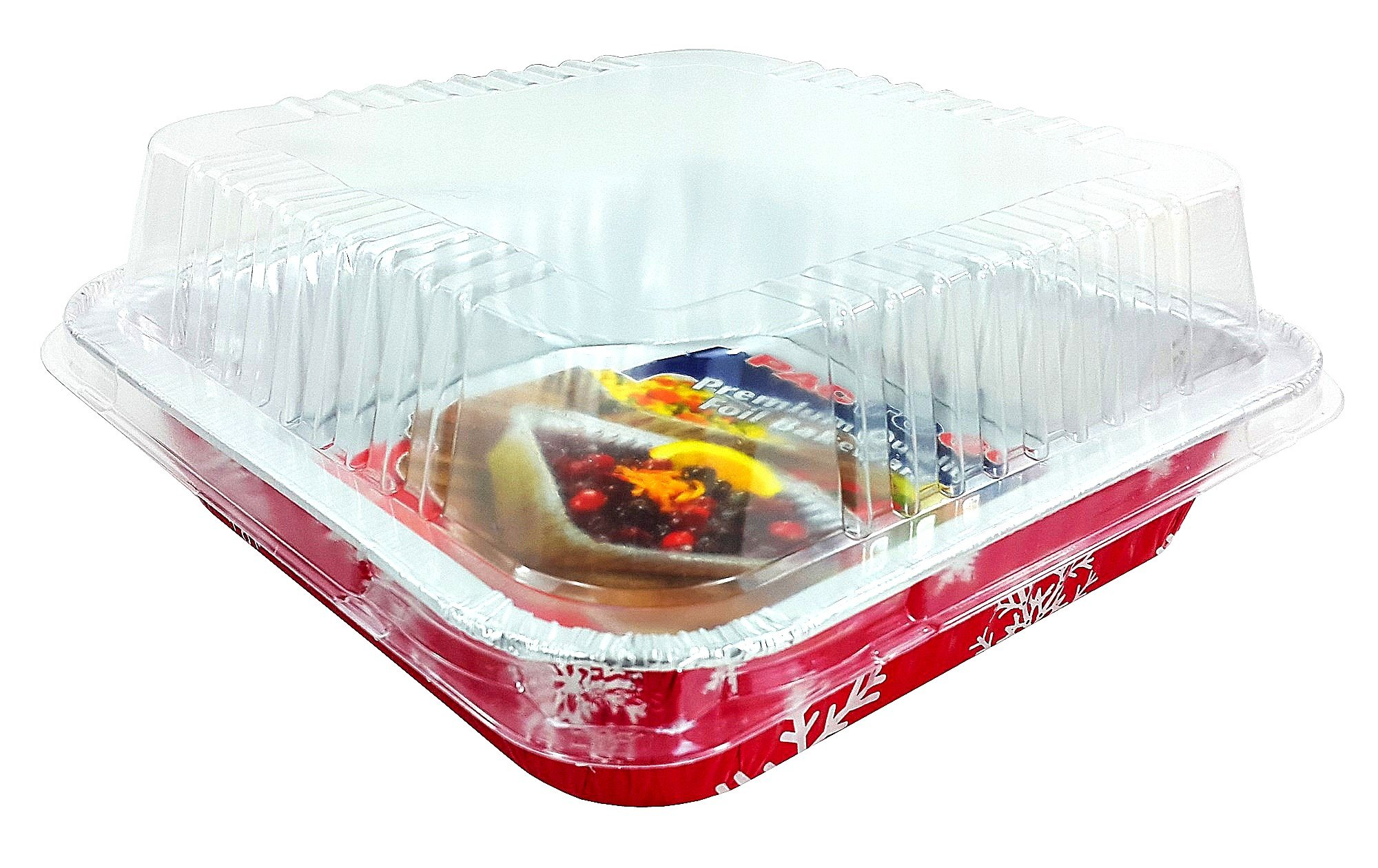 Pactogo Red Holiday Christmas Square Cake Aluminum Foil Pan w/Clear Dome Lid Disposable Baking Tins (Pack of 25 Sets) by PACTOGO (Image #4)