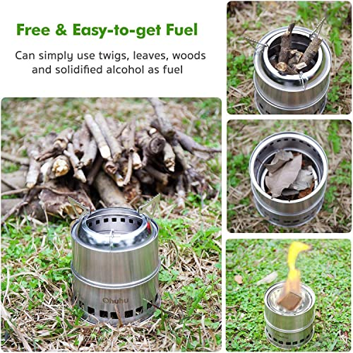 Ohuhu Camping Stove Stainless Steel Backpacking Stove Potable Wood Burning Stoves