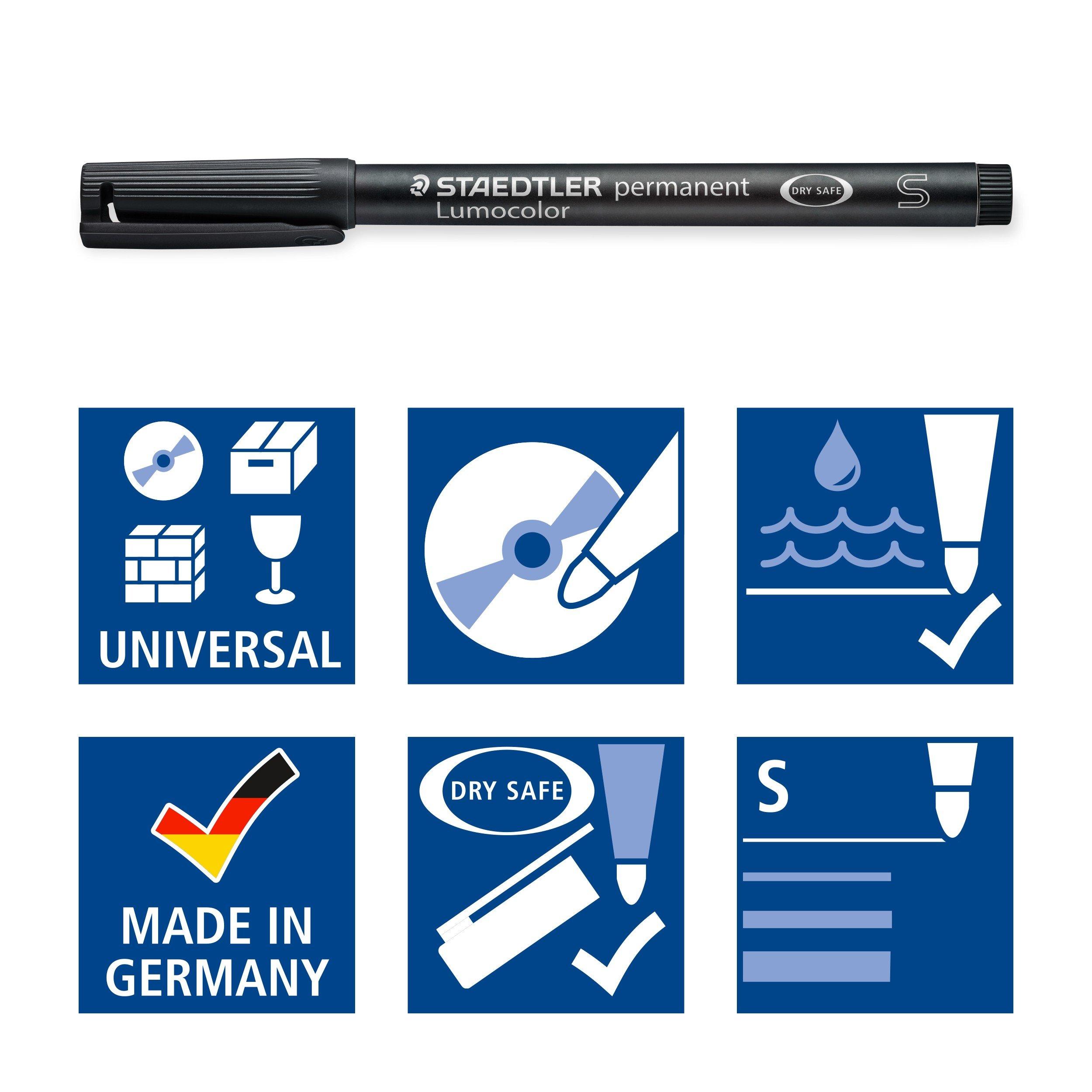 Staedtler 313-9 Lumocolor Universal Permanent Superfine Pens - Black, Pack of 10 by Staedtler Mars GmbH & Co. (Image #5)