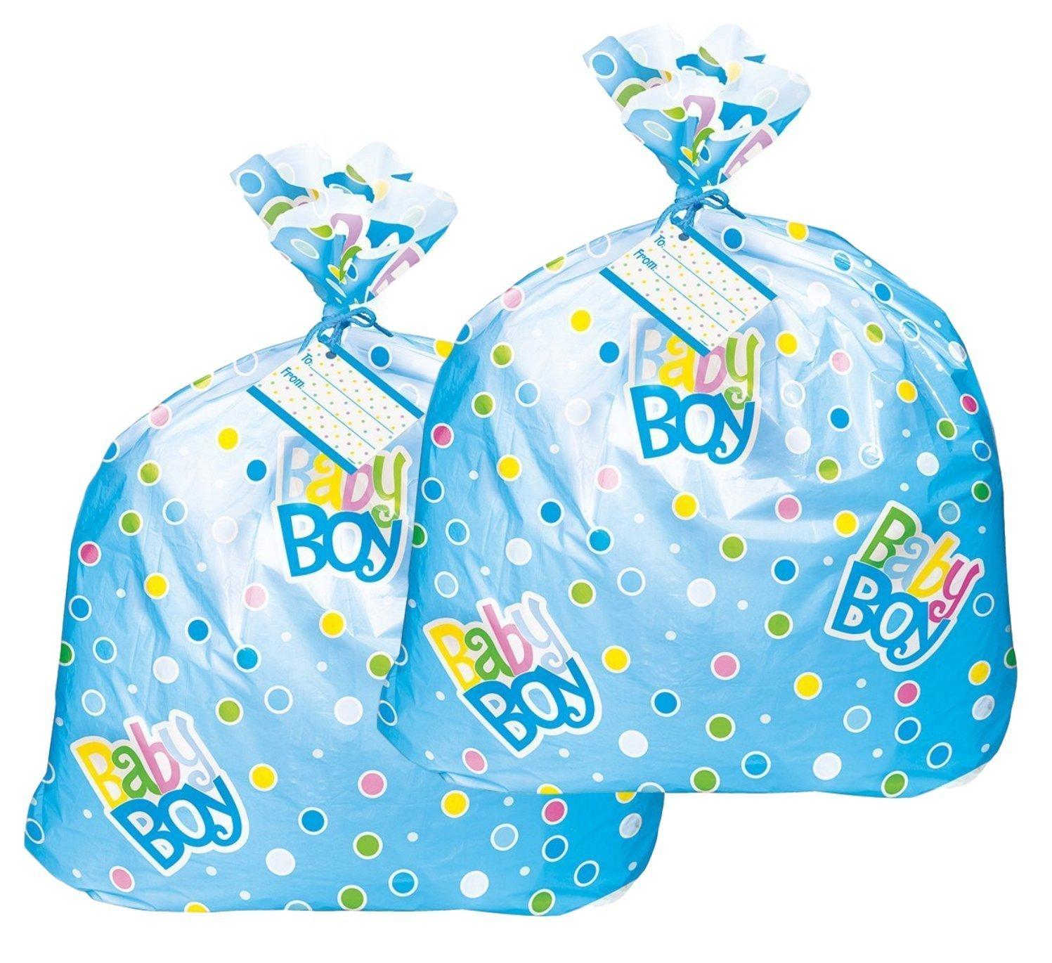 Jumbo Plastic Blue Polka Dot Boy Baby Shower Gift Bags (2) Unique