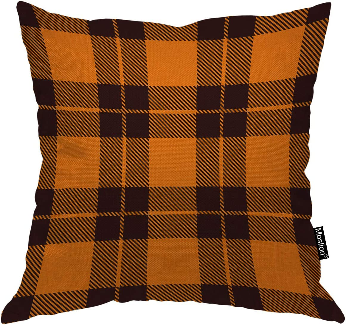 Moslion Orange and Black Buffalo Throw Pillow Covers Halloween Classic Retro Checkers Plaid Fall Design Throw Pillow Cases for Home Decor Halloween Thanksgiving Cushion Cover Cotton Linen 18x18 inch