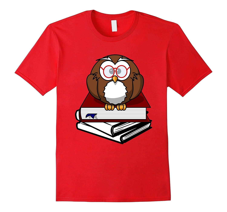 Book Nerd Shirt Owl Reading Student Geek Funny TShirt-CD