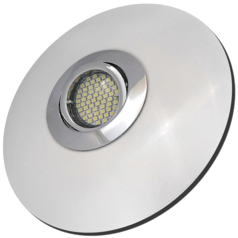 4 Stück SMD LED Einbaustrahler Big Laura 230 Volt 5 Watt Schwenkbar Chrom + Weiß Warmweiß