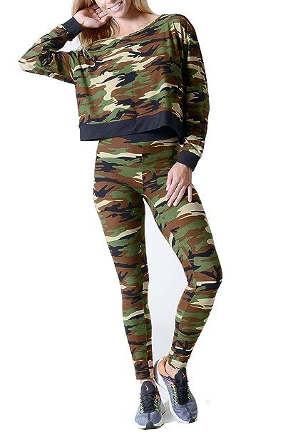 Amazon.com: Juego de ropa para mujer camuflaje tirador de ...