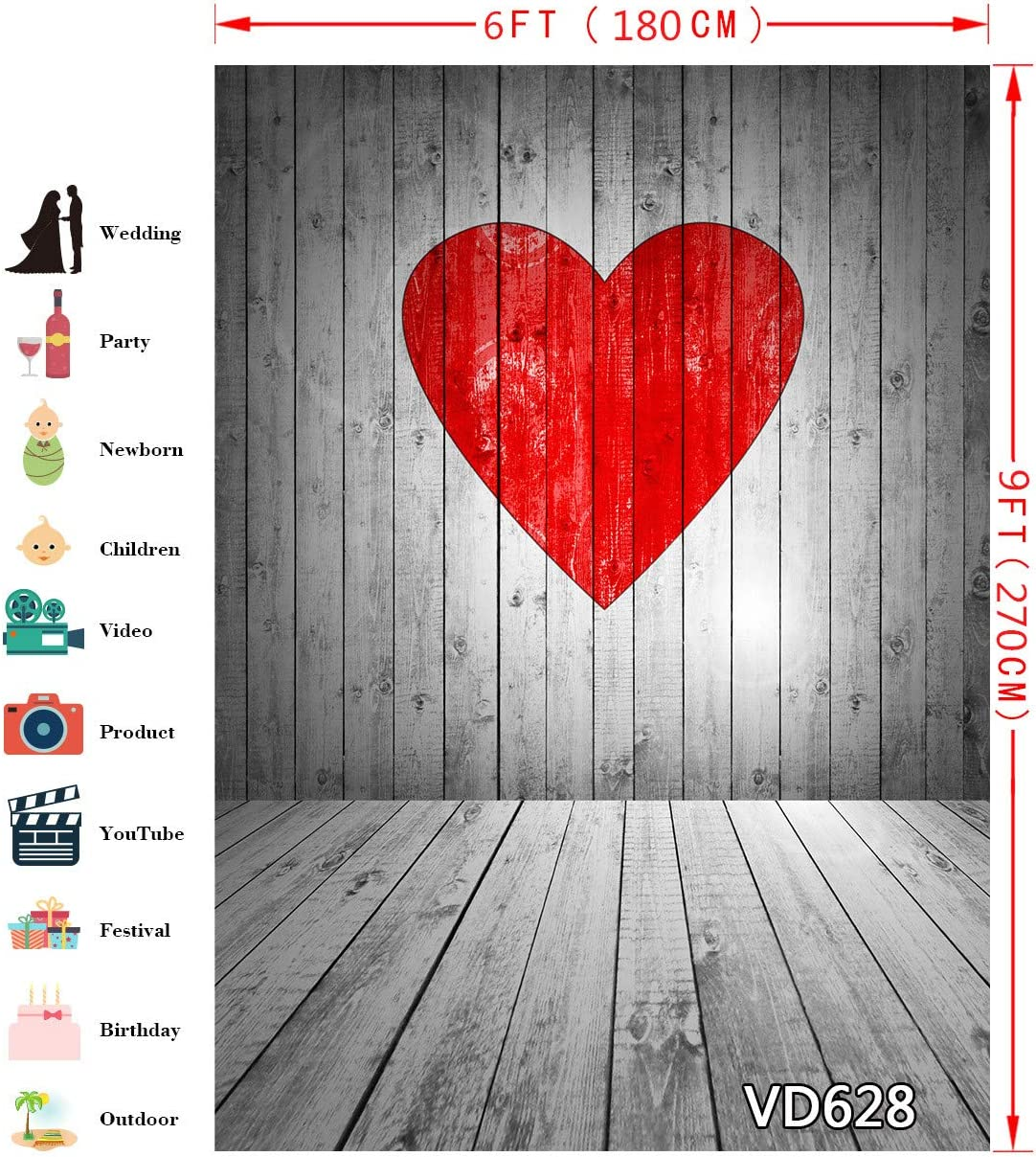 LB Rustic Retro Wooden Floor Valentines Day Backdrop for Photography 6x9ft Love Heart Photo Background for Pictures Studio Props Customized VD628