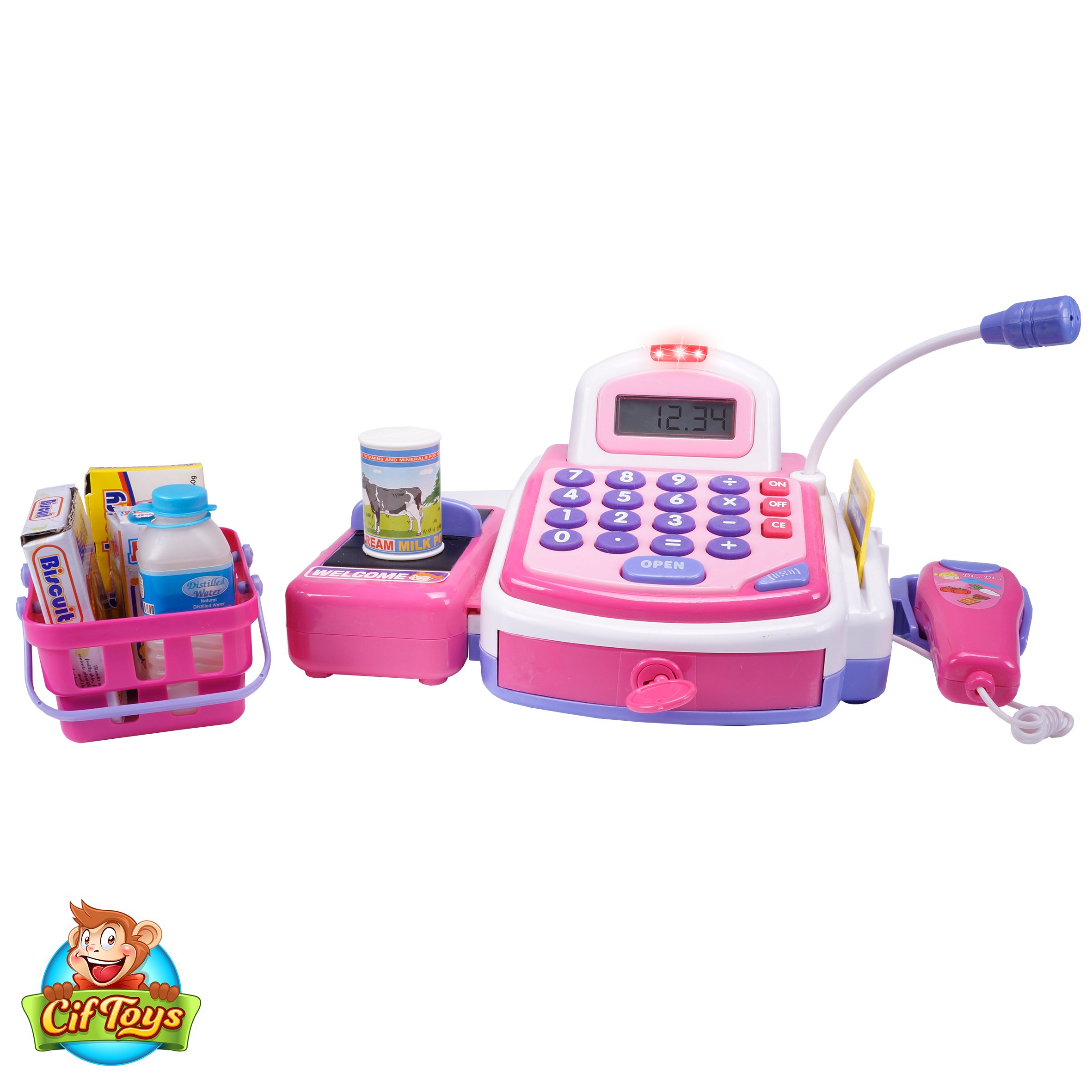 CifToys Cashier Toy Cash Register Playset | Pretend Play Set for Kids | Colorful Children's Supermarket Checkout Toy with Microphone & Sounds | Ideal Gift for Toddlers & Pre-Schoolers by CifToys (Image #8)