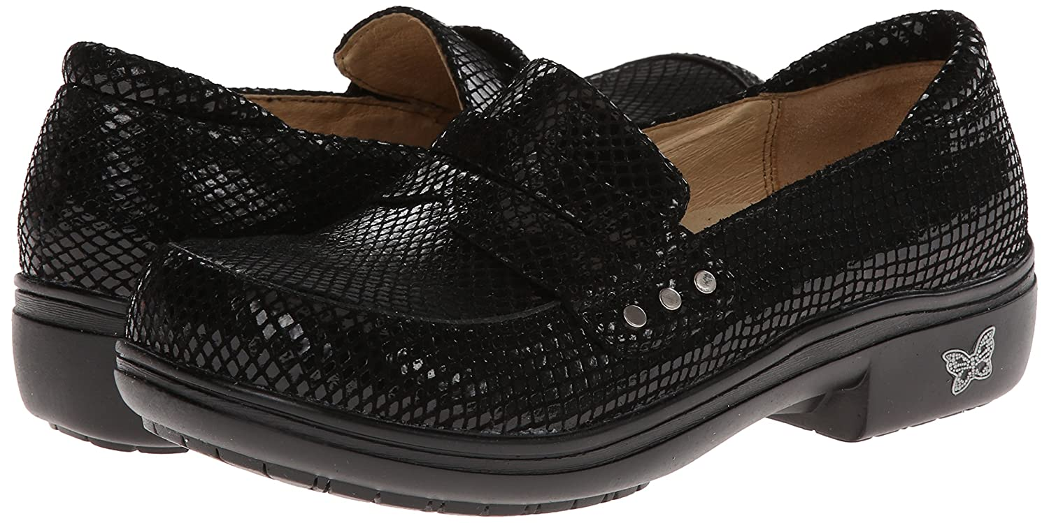 Alegria Women's Taylor Pro Black Glossy Snake Loafer