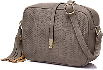 Realer Cross Body for Women Small Shoulder Bags PU Leather Side Purse (Gray)