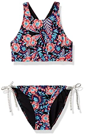 8c176a7358823 Roxy Girls' Big Surfing Miami Crop Swimsuit Set, Anthracite Tropical Dream,  ...