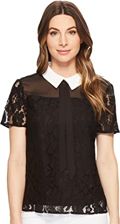 9f6654a075487 CeCe Womens Short Sleeve Two-Tone Floral Lace Top at Amazon Women s ...