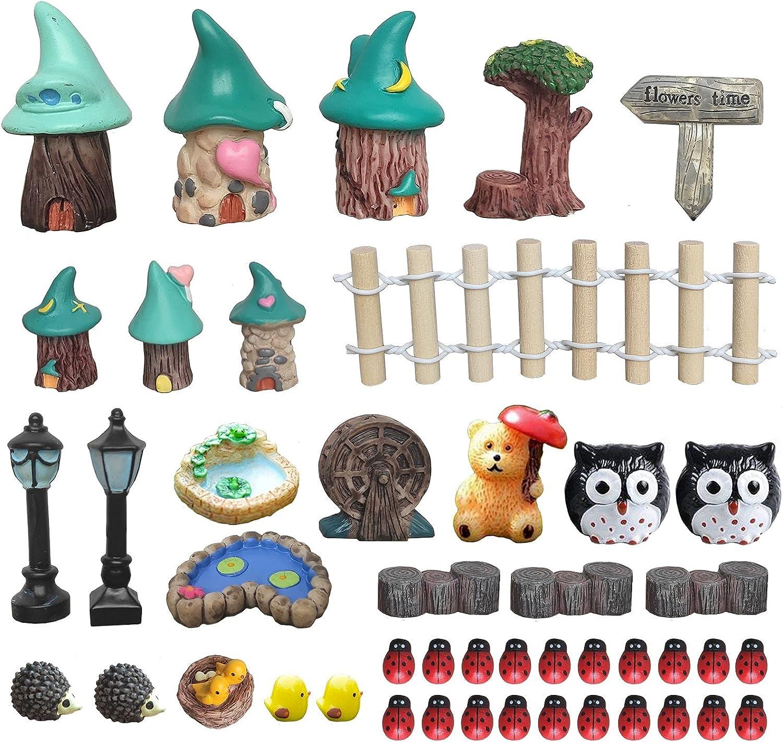 45 Pcs Miniature Fairy Garden Accessories Outdoor - Miniature Fairy Garden Supplies Miniature Garden Accessories with Fairy Garden Animals, Houses, Decor for Garden Patio Micro Landscape Yard Bonsai