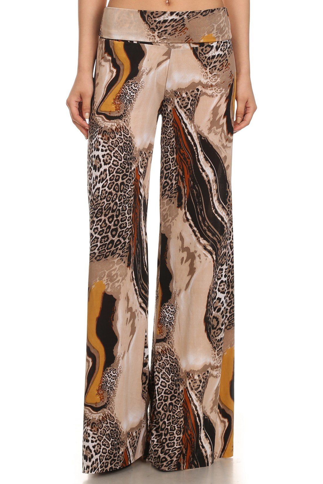 Yelete Lady's Printed Palazzo Pants (Milky Way Cheetah, Medium)
