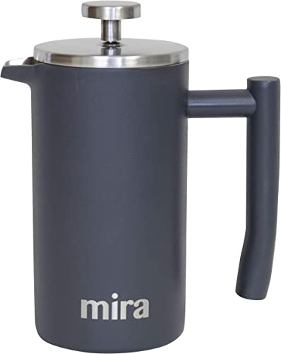 MIRA 12 oz Stainless Steel French Press Coffee Maker Double Walled Insulated Coffee Tea Brewer Pot Maker Keeps Brewed Coffee or Tea Hot 350 ml 12 oz 350 ml
