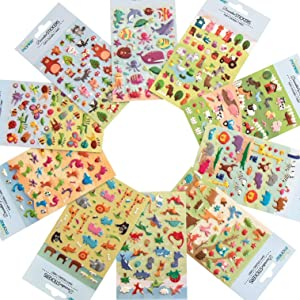 Premium Quality 3D Puffy Sticker Set - Includes 10 Individually Packaged Animal Themed Premium Quality Puffy Sticker Sheets with Jungle, Safari, Farm, Woodland, Dinosaurs, Sea Creatures, & Bugs