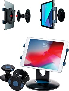 CTA Digital PAD-QCWDM Tablet Wall Mount, Rotating Desktop Stand for iPad Mini, iPad Gen 6, iPad Pro 12.9, Galaxy Tab S3 9.7 and More, for use in Kitchen Home Retail Store