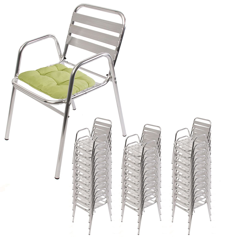 30x Alu-Bistrostuhl M28, Gartenstuhl Stapelstuhl Terrassenstuhl, stapelbar ~ mit Kissen hellgrün