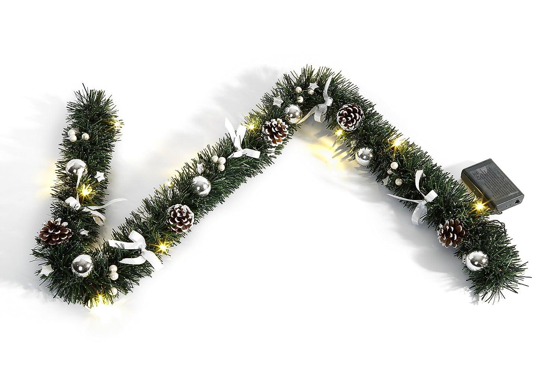 gr/Ã/¼n; silber;wei/Ã Heitmann Deco dekorierte Weihnachtsgirlande mit Kugeln; Schleifen und Zapfen mit LED-Beleuchtung f/Ã/¼r innen