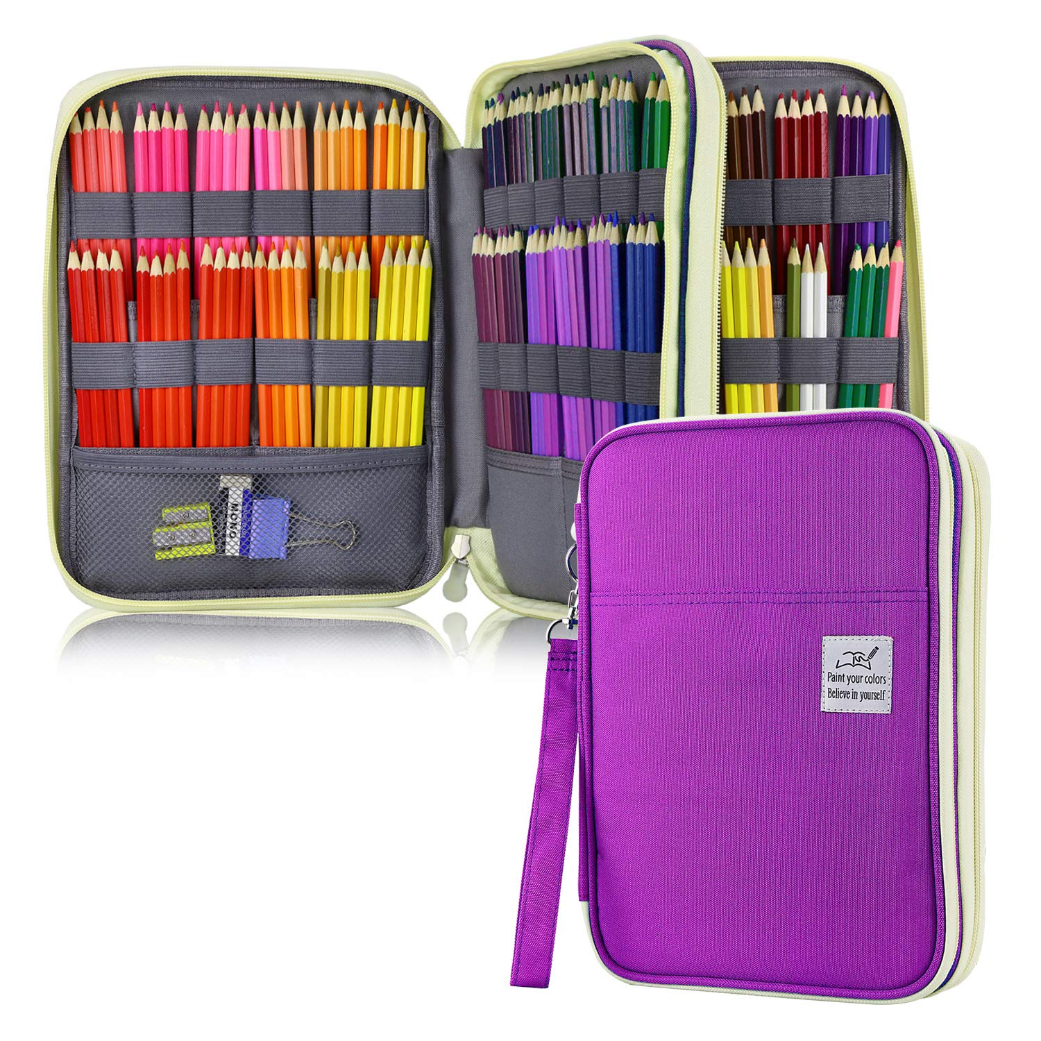 YOUSHARES 192 Slots Colored Pencil Case, Large Capacity Pencil Holder Pen Organizer Bag with Zipper for Prismacolor Watercolor Coloring Pencils, Gel Pens & Markers for Student & Artist (Purple) by YOUSHARES