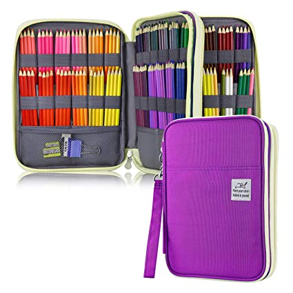 f83c1ad03d38 YOUSHARES 192 Slots Colored Pencil Case, Large Capacity Pencil Holder Pen  Organizer Bag with Zipper for Prismacolor Watercolor Coloring Pencils, Gel  ...