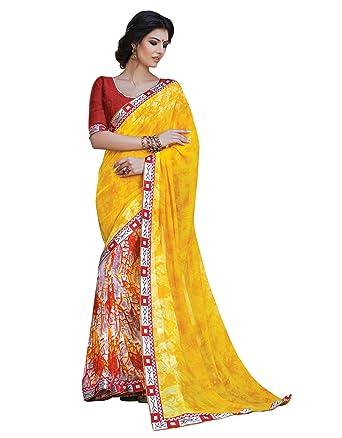 fc42aa49c9 Traditional Indian Sari Bollywood Sarees Elegant Women Wear Georgette Saree:  Amazon.co.uk: Clothing