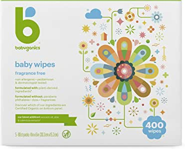 Babyganics Baby Wipes, Unscented, 400 Count (4 Packs of 100 Wipes), Packaging May Vary