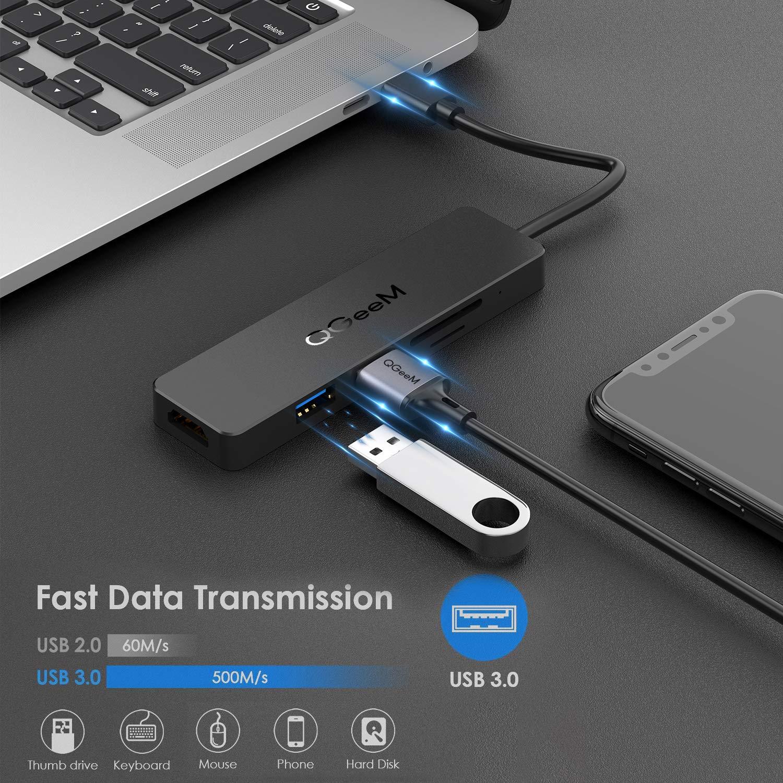 USB C HubQGeeM 5 in 1 USB C to HDMI 4K AdapterUSB C to USB 30Type C SDTF Card ReaderUSB to